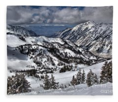 Looking Down From The Road To Provo Fleece Blanket