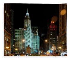 Looking North On Michigan Avenue At Wrigley Building Fleece Blanket