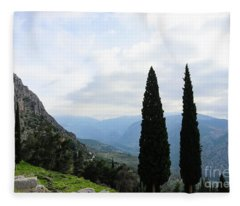 Looking Out Over Valley And Mountains From Ruins At Delphi Greece Fleece Blanket