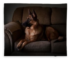 Looking Out The Window - German Shepherd Dog Fleece Blanket