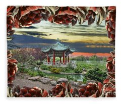 Looking Through An Opening In The Aeonium To The Chinese Pagoda  Fleece Blanket