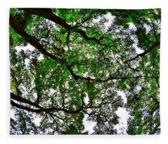 Looking Up The Oaks Fleece Blanket
