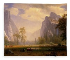 Looking Up The Yosemite Valley  Fleece Blanket