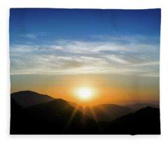 Los Angeles Desert Mountain Sunset Fleece Blanket