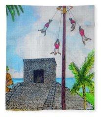 Los Valadores At The Ruins Of Tulum Fleece Blanket