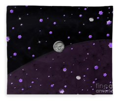 Lost In Midnight Charcoal Stars Fleece Blanket
