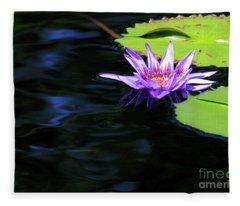 Lotus And Dark Water Refection Fleece Blanket