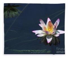 Lotus And Reflection Fleece Blanket