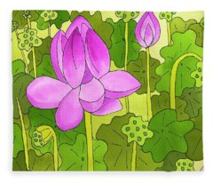 Lotus And Waterlilies Fleece Blanket