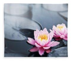 Lotus Blossoms Fleece Blanket