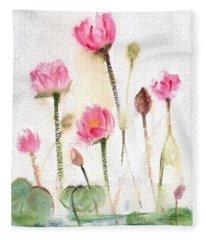 Lotus Pond Fleece Blanket