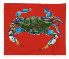 Louisiana Blue On Red Fleece Blanket