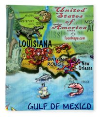 Louisiana Fun Map Fleece Blanket