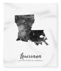 Louisiana State Map Art - Grunge Silhouette Fleece Blanket