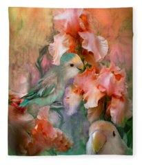 Love Among The Irises Fleece Blanket