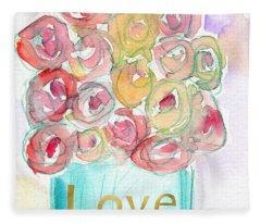Love And Roses- Art By Linda Woods Fleece Blanket