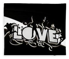 Love Beatles Sign Fleece Blanket