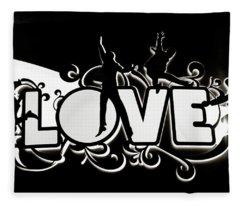 Love Beatles Sign Vegas Fleece Blanket