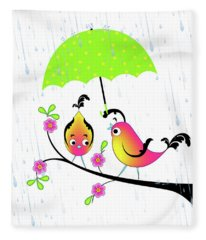Love Birds In Rain Fleece Blanket