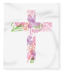 Love Floral Cross- Art By Linda Woods Fleece Blanket