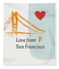 Love From San Francisco- Art By Linda Woods Fleece Blanket