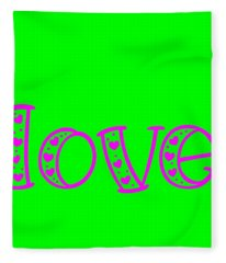 Love In Magenta And Green Fleece Blanket
