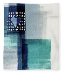 Love In Shades Of Blue- Abstract Art By Linda Woods Fleece Blanket