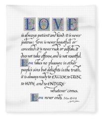 Love Is Always Patient Fleece Blanket