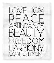 Love Joy Peace Beauty Virtues Fleece Blanket