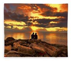 Love On The Rocks Fleece Blanket