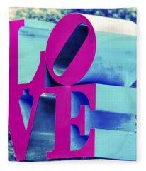 Love Philadelphia Neon Pink Fleece Blanket