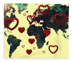 Love World Map 2 Fleece Blanket