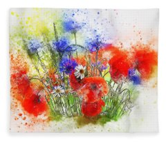 Watercolour Bouquet Fleece Blanket