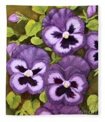 Lovely Purple Pansy Faces Fleece Blanket