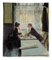 Lovers In A Cafe Fleece Blanket