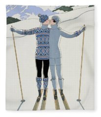Lovers In The Snow Fleece Blanket