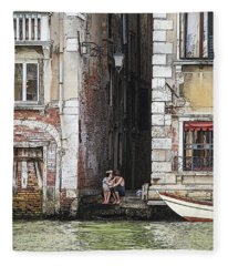 Lovers In Venice Fleece Blanket
