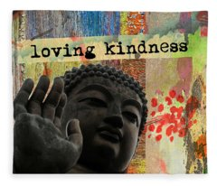 Loving Kindness. Buddha Fleece Blanket