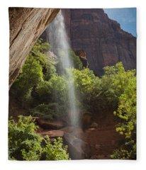 Lower Emerald Pool Falls In Zion Fleece Blanket