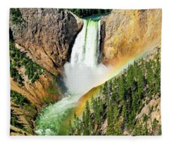 Lower Falls Rainbow Fleece Blanket
