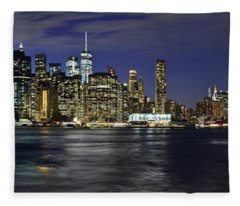 Lower Manhattan From Brooklyn Heights At Dusk - New York City Fleece Blanket