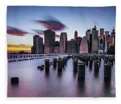 Lower Manhattan Purple Sunset Fleece Blanket