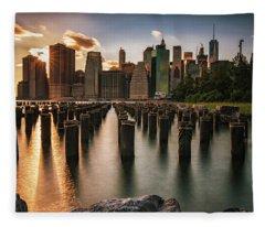Lower Manhattan Sunset Twinkle Fleece Blanket