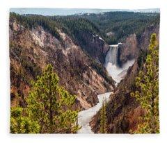 Lower Yellowstone Canyon Falls 5 - Yellowstone National Park Wyoming Fleece Blanket