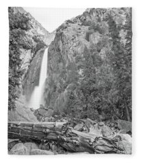 Lower Yosemite Falls In Black And White By Michael Tidwell Fleece Blanket