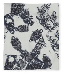 Lucky Charms Of Wise Old Owls Fleece Blanket
