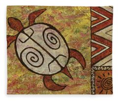 Fleece Blanket featuring the painting Lucky Honu by Darice Machel McGuire