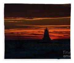 Ludington Light Silhouette At Sunset Fleece Blanket