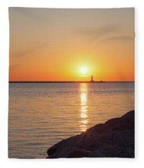 Ludington Sunset Fleece Blanket