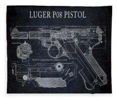 Luger P08 Pistol Blueprint Fleece Blanket